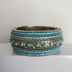 Vintage Boho Silver and Turquoise Cuff Bracelet
